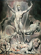 Satan Training the Rebel Angels' : watercolour by William Blake (1757-1827) English Romantic poet, painter and printmaker. Fire Torture Mancles