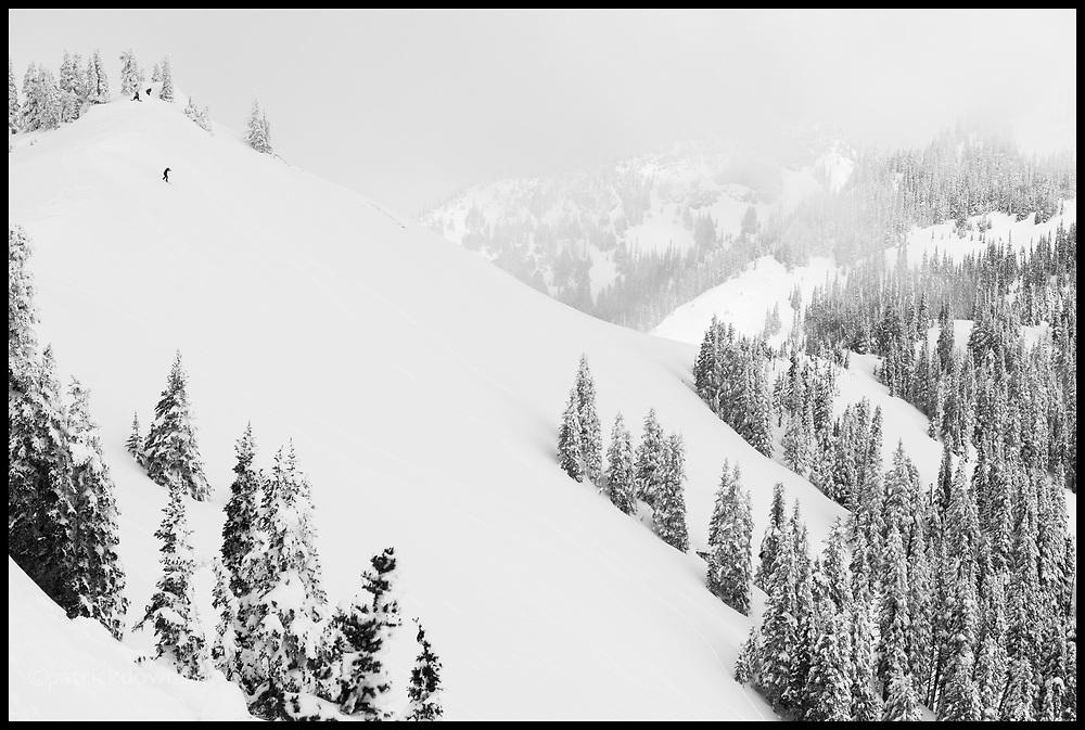 Skiing off-run on Hurricane Ridge at the end of the season.
