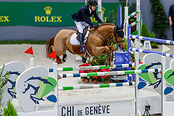LAMAZE Eric (CAN), Chacco Kid<br /> Genf - CHI Geneve Rolex Grand Slam 2019<br /> Prix des Communes Genevoises<br /> 2-Phasen-Springen<br /> International Jumping Competition 1m50<br /> Two Phases: A + A, Both Phases Against the Clock<br /> 13. Dezember 2019<br /> © www.sportfotos-lafrentz.de/Stefan Lafrentz