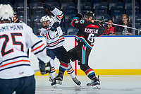 KELOWNA, CANADA - SEPTEMBER 5: Kyrell Sopotyk #15 of the Kamloops Blazers is checked by Kaeden Korczak #6 of the Kelowna Rockets on September 5, 2017 at Prospera Place in Kelowna, British Columbia, Canada.  (Photo by Marissa Baecker/Shoot the Breeze)  *** Local Caption ***