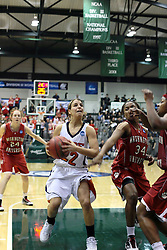 20 March 2010: A second too late arrives Janice Evans attempt to stop a shot by Liz Ellis. The Flying Dutch of Hope College fall to the Bears of Washington University 65-59 in the Championship Game of the Division 3 Women's NCAA Basketball Championship the at the Shirk Center at Illinois Wesleyan in Bloomington Illinois.