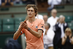 June 1, 2018 - Paris, Ile-de-France, France - Alexander Zverev of Germany reacts during his mens singles third round match against Damir Dzumhur of Bosnia and Herzegovinia during day six of the 2018 French Open at Roland Garros on June 1, 2018 in Paris, France. (Credit Image: © Mehdi Taamallah/NurPhoto via ZUMA Press)