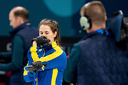 February 19, 2018 - Pyeongchang, SOUTH KOREA - 180219 Anna Hasselborg of Sweden looks dejected in the Women's Curling Round Robin between Sweden and South Korea during day ten of the 2018 Winter Olympics on February 19, 2018 in Pyeongchang..Photo: Jon Olav Nesvold / BILDBYRN / kod JE / 160182 (Credit Image: © Jon Olav Nesvold/Bildbyran via ZUMA Press)