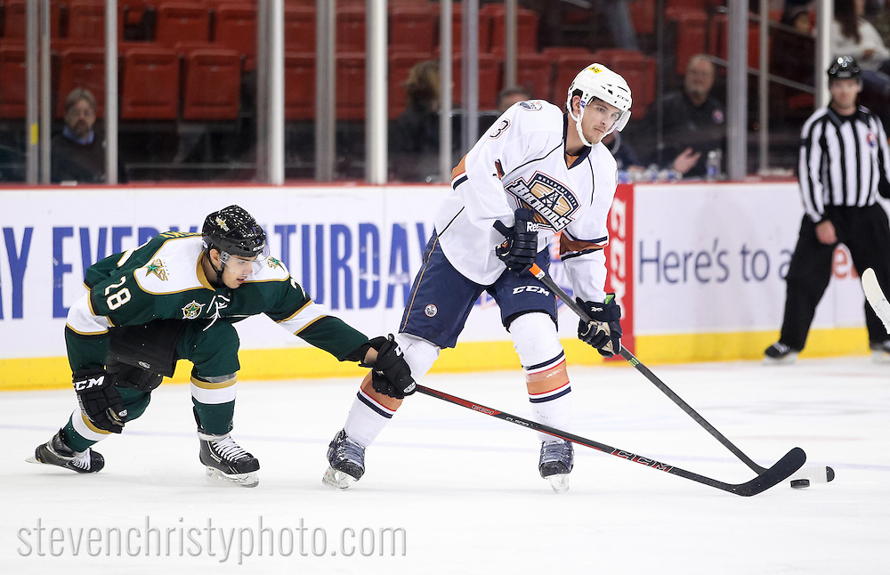 October 15, 2013: The Oklahoma City Barons play the Texas Stars in an American Hockey League game at the Cox Convention Center in Oklahoma City.