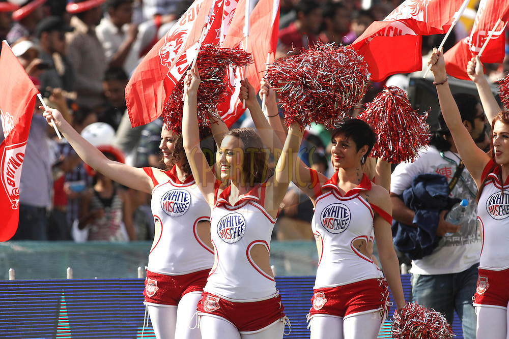 Cheerleaders during match 9 of the Indian Premier League ( IPL ) Season 4 between the Kings XI Punjab and the Chennai Super Kings held at the PCA stadium in Mohali, Chandigarh, India on the 13th April 2011..Photo by Shaun Roy/BCCI/SPORTZPICS
