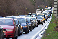 ©Licensed to London News Pictures 20/12/2019. <br /> Crawley ,UK. . Four miles of traffic on the A264 towards junction 11.  The M23 in East Sussex near Gatwick was shut in both directions today between Junction 10 and Junction 11 for Pease Pottage due to flooding.  Photo credit: Grant Falvey/LNP