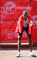 Mo Farah at the finish line<br /> The Virgin Money London Marathon 2014<br /> 13 April 2014<br /> Photo: Jed Leicester/Virgin Money London Marathon<br /> media@london-marathon.co.uk