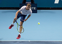 Tennis - 2017 Nitto ATP Finals at The O2 - Day Three<br /> <br /> Mens Doubles: Group Eltingh/Haarhus: Pierre-Hugues Herbert (France) & Nicolas Mahut (France) Vs Ryan Harrison (United States) & Micheal Venus (New Zealand)<br /> <br /> Ryan Harrison (United States) serves at the O2 Arena <br /> <br /> COLORSPORT/DANIEL BEARHAM