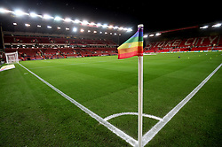 Rainbow corner flag on show before the game between Stoke City and Derby County