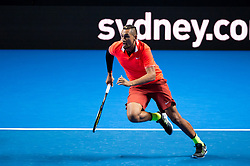 January 7, 2019 - Sydney, NSW, U.S. - SYDNEY, AUSTRALIA - JANUARY 07: Nick Kyrgios (AUS) runs to a ball at The Sydney FAST4 Tennis Showdown on January 07, 2018, at Qudos Bank Arena in Homebush, Australia. (Photo by Speed Media/Icon Sportswire) (Credit Image: © Steven Markham/Icon SMI via ZUMA Press)