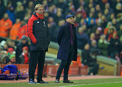 LIVERPOOL, ENGLAND - Wednesday, January 20, 2016: Liverpool's manager Jürgen Klopp and Exeter City's manager Paul Tisdale during the FA Cup 3rd Round Replay match at Anfield. (Pic by David Rawcliffe/Propaganda)