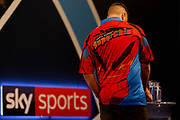 Daryl Gurney and Sky Sports banner during the Darts World Championship 2018 at Alexandra Palace, London, United Kingdom on 18 December 2018.