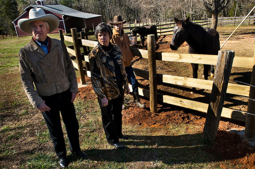 Corwyn Edwards  with his wife Linda Edwards and their son Destry Edwards at their farm outside Greenville, SC. The Edwards family is a very conservative Baptist Christian family and support republican candidate Rick Santorum.