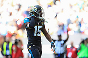 Touchdown, 3 yard pass to Allen Robinson of Jacksonville Jaguars during the International Series match between Indianapolis Colts and Jacksonville Jaguars at Wembley Stadium, London, England on 2 October 2016. Photo by Jason Brown.