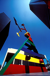 Stock photo of the colorful Miró sculpture at Pennzoil Place in downtown Houston Texas