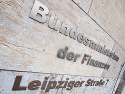 Name plate of German Finance Ministry the Bundesminiterium der Finanzen in Berlin Germany