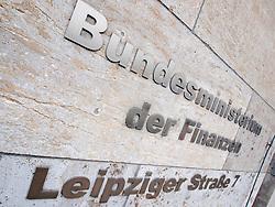Name plate of German Finance Ministry the Bundesminiterium der Finanzen in Berlin Germany