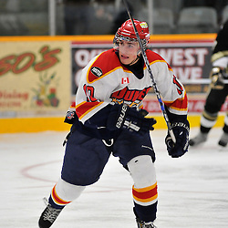 TRENTON, ON - Oct 26: Ontario Junior Hockey League game between Wellington Dukes and Trenton Golden Hawks. Parker Wood #10 of the Wellington Dukes during third period game action..(Photo by Shawn Muir / OJHL Images)