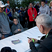 March 1, 2014, Indian Wells, California: <br /> John McEnroe signs autographs before the unveiling of a mural of himself during the McEnroe Challenge for Charity presented by Esurance at Indian Wells Tennis Garden. <br /> (Photo by Billie Weiss/BNP Paribas Open)