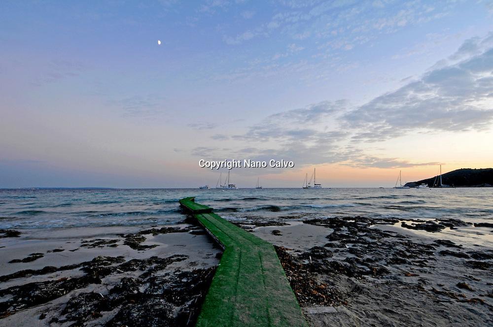 Popular wood catwalk in Sa Trinxa, Salinas Beach, Ibiza