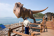 Goseong Dinosaur Museum. Footprint fossil site exploration path. Life-size Tyrannosaurus Rex, visitors.