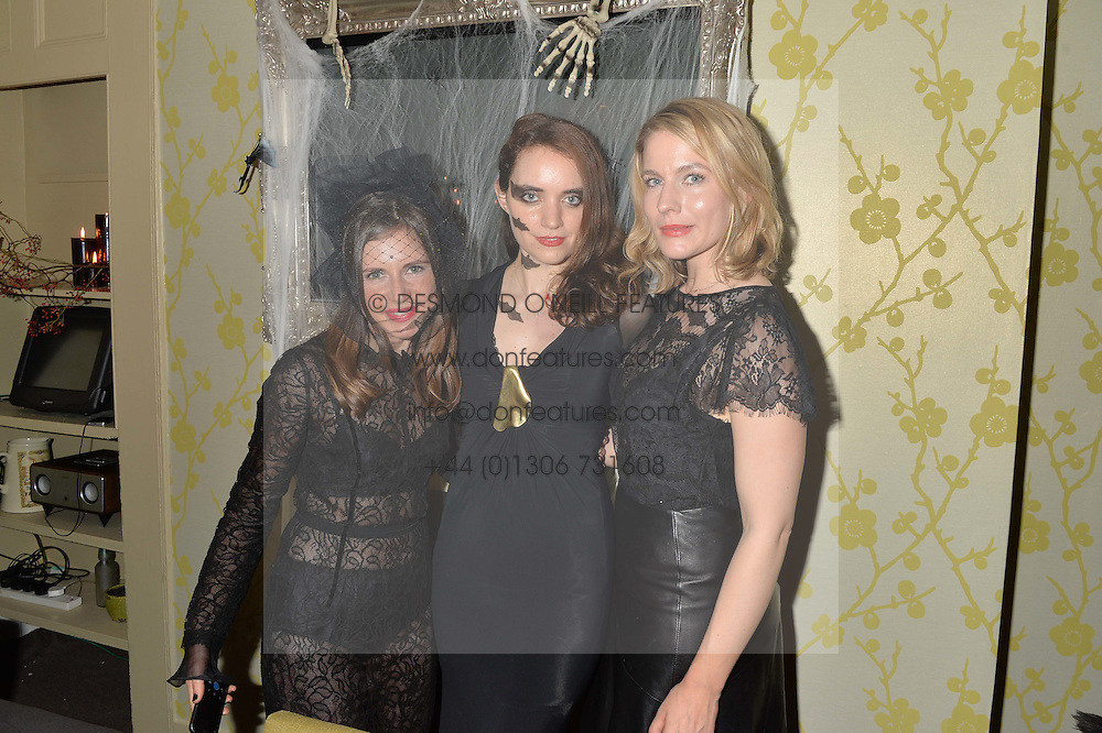 Left to right, SOHIE GOODWIN, MARIELLA TANDY and  at the Bumpkin Halloween Dinner hosted by Marissa Hermer held at Bumpkin, 119 Sydney Street, London on 23rd October 2014.