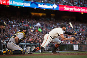 San Francisco Giants right fielder Hunter Pence (8) stretches to make contact with a pitch against the Pittsburgh Pirates at AT&T Park in San Francisco, California, on July 25, 2017. (Stan Olszewski/Special to S.F. Examiner)