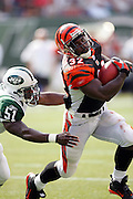 EAST RUTHERFORD, NJ - SEPTEMBER 12:  Running back Rudi Johnson #32 of the Cincinnati Bengals dodges a tackle by Jonathan Vilma #51 of the New York Jets at Giants Stadium on September 12, 2004 in East Rutherford, New Jersey. The Jets defeated the Bengals 31-24. ©Paul Anthony Spinelli *** Local Caption *** Rudi Johnson