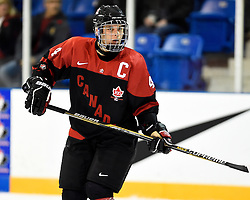Kale Clague of the Brandon Wheat Kings represented Team Canada Black at the 2014 World Under-17 Hockey Challenge in Sarnia and Lambton, ON November 2-8, 2014. Photo by Aaron Bell/CHL Images