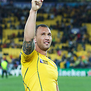 Quade Cooper, Australia, celebrates after Australia's victory during the South Africa V Australia Quarter Final match at the IRB Rugby World Cup tournament. Wellington Regional Stadium, Wellington, New Zealand, 9th October 2011. Photo Tim Clayton...
