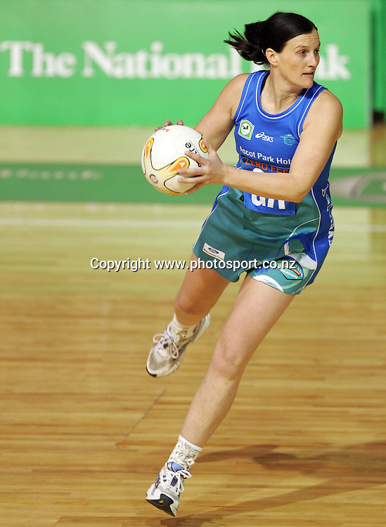 Belinda Colling during the National Bank Cup netball final between the Waikato/BOP Magic and the Southern Sting at Mystery Creek, Hamilton, New Zealand on Friday 30 June, 2006. The Magic won the match 67 - 43 to win the national bank cup for 2006. Photo: Hannah Johnston/PHOTOSPORT<br />