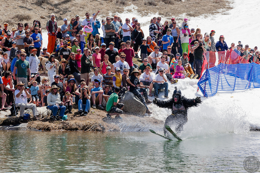 """""""Cushing Classic at Squaw Valley 14"""" - Photograph of a skier crossing a pond during the Cushing Classic at Squaw Valley, USA."""