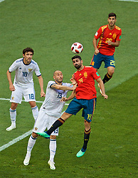MOSCOW, RUSSIA - Sunday, July 1, 2018: Russia's Fedor Kudriashov (left) and Diego Costa (right) during the FIFA World Cup Russia 2018 Round of 16 match between Spain and Russia at the Luzhniki Stadium. (Pic by David Rawcliffe/Propaganda)