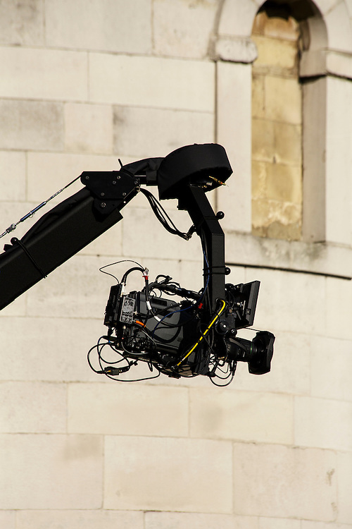 A professional broadcasting camera on a boom