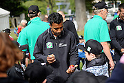 Tarun Nethula of the Black Caps signs a cricket ball for a fan at the National Bank's Cricket Super Camp , University oval, Dunedin, New Zealand. Thursday 2 February 2012 . Photo: Richard Hood photosport.co.nz