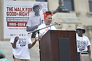 "Civil Rights icon Dorie Ladner speaks at the  State Capitol to commemorate the 50th Anniversary of his historic Walk Against Fear in 1966. Meredith was shot on the second day of his walk in 1966 in Hernando MS and Dr. Martin Luther King and other major civil rights leaders of the time continued Meredith's March from Memphis to Jackson which ended at he Mississippi State Capitol on June 26, 1966 with 15,000 marchers. The Meredith March was the largest civil rights march ever in the state of Mississippi.  The Smith Robertson Museum has an exhibit all about Meredith's March called ""Am I or Am I Not  A Citizen."" and Meredith spoke and signed books at the museum before the walk to the state capitol. Photo©Suzi Altman"