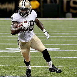 Aug 9, 2013; New Orleans, LA, USA; New Orleans Saints running back Khiry Robinson (29) against the Kansas City Chiefs during a preseason game at the Mercedes-Benz Superdome. The Saints defeated the Chiefs 17-13. Mandatory Credit: Derick E. Hingle-USA TODAY Sports