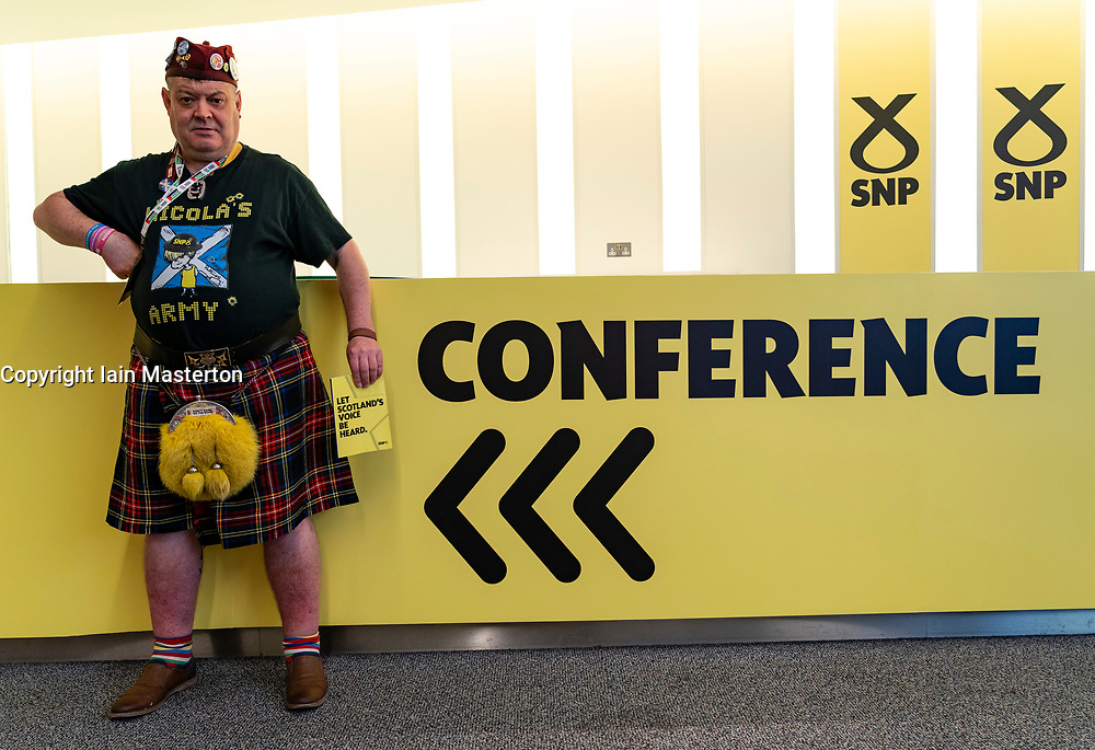 Edinburgh, Scotland, UK. 27 April, 2019. SNP ( Scottish National Party) Spring Conference takes place at the EICC ( Edinburgh International Conference Centre) in Edinburgh. Pictured Steve Davis an avid SNP supporter from Wales supporting Nicola's Army