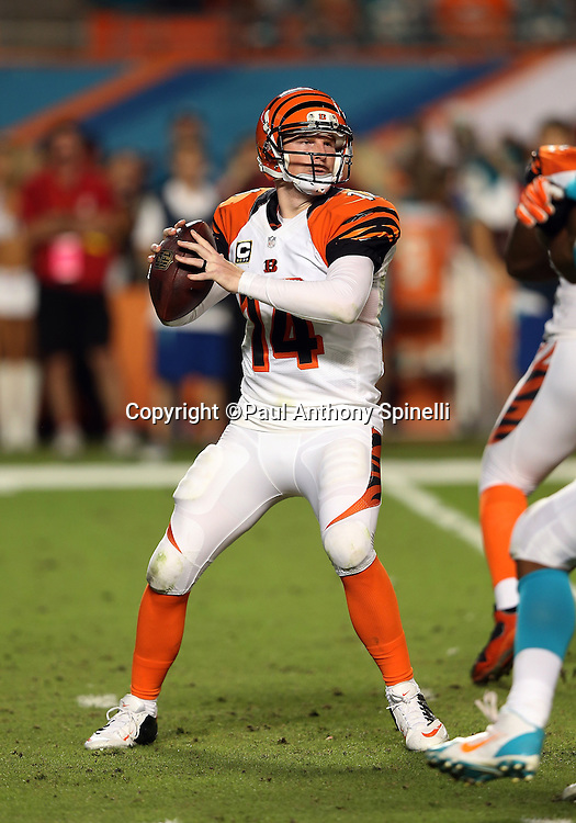 Cincinnati Bengals quarterback Andy Dalton (14) throws a pass during the NFL week 9 football game against the Miami Dolphins on Thursday, Oct. 31, 2013 in Miami Gardens, Fla.. The Dolphins won the game 22-20 in overtime. ©Paul Anthony Spinelli