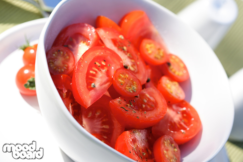 Close up of tomatoes in bowl