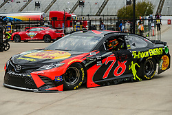 April 6, 2018 - Fort Worth, TX, U.S. - FORT WORTH, TX - APRIL 06: Monster Energy NASCAR Cup Series driver Martin Truex Jr. (78) backs out of the garage during the Monster Energy NASCAR Cup Series practice on April 6, 2018 at the Texas Motor Speedway in Fort Worth, Texas. (Photo by Matthew Pearce/Icon Sportswire) (Credit Image: © Matthew Pearce/Icon SMI via ZUMA Press)