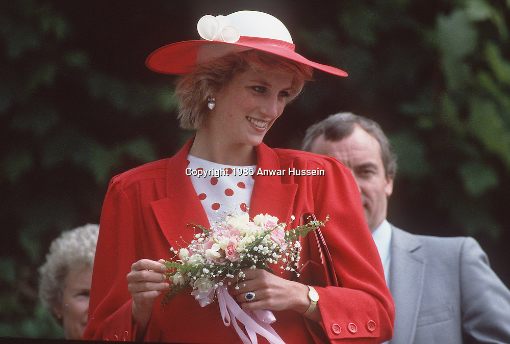 CARDIFF, WALES - JUNE 1985:  Diana, Princess of Wales and her bodyguard Barry Mannakee attend an International Deaf Youth Rally at Atlantic College in June 1985 in Cardiff, Wales. A video tape released in the US of Diana speaking in 1992 shows her stating she wanted to run away from Prince Charles and live with Mannakee. Diana also expresses fears Mannakee was murdered when he died in a motorcycle accident in 1987. (Photo by Anwar Hussein/Getty Images) *** Local Caption *** Diana, Princess of Wales;Barry Mannakee