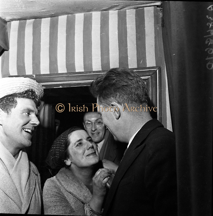Four detectives arrived in a squad car at the Pike Theatre Club in Herbert Lane, Dublin, and took Mr. Alan Simpson, co-director of the theatre, to the Bridewell..24/05/1957