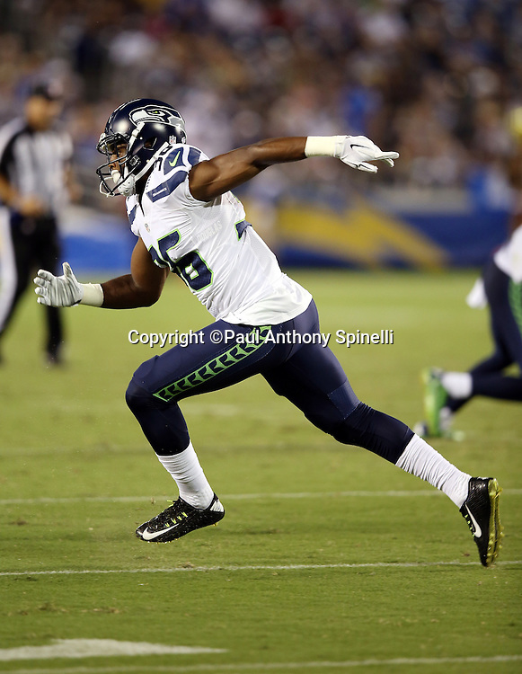 Seattle Seahawks defensive back Ryan Murphy (36) chases the action during the 2015 NFL preseason football game against the San Diego Chargers on Saturday, Aug. 29, 2015 in San Diego. The Seahawks won the game 16-15. (©Paul Anthony Spinelli)