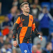 Chelsea midfielder Jorginho (5) warming up before the Champions League match between Chelsea and Valencia CF at Stamford Bridge, London, England on 17 September 2019.