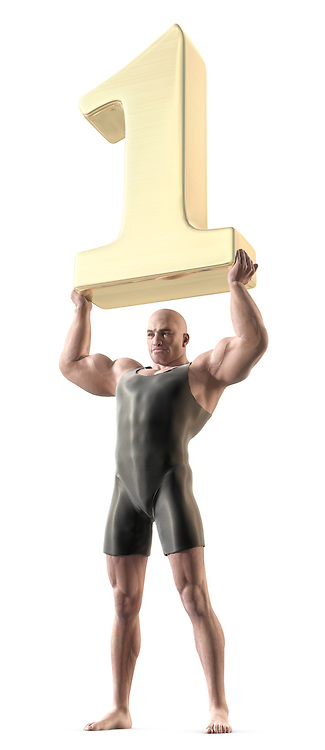 A muscular man in a body suit lifting a giant gold number 1 over his head.