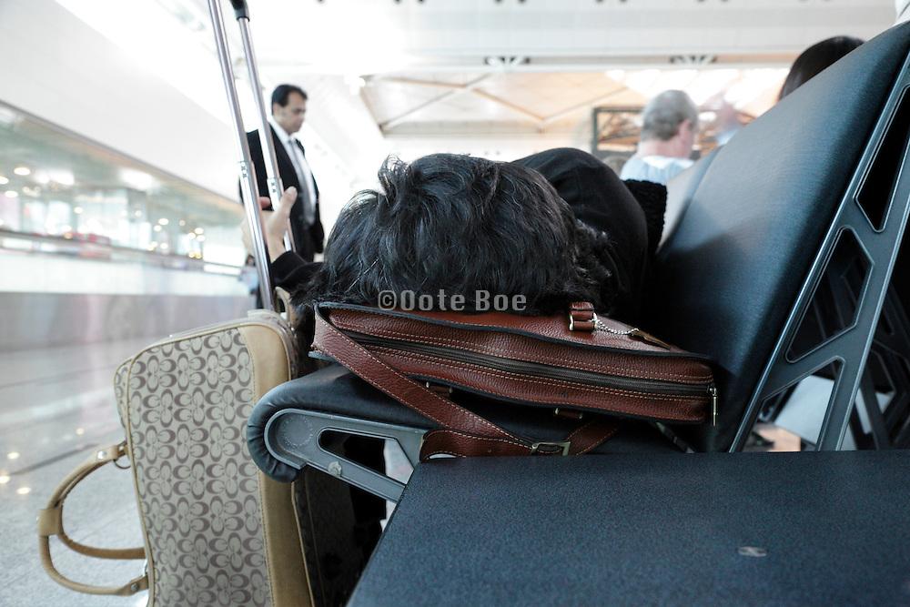 sleeping at an airport