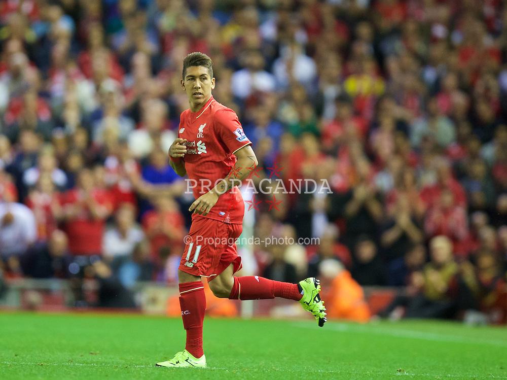 LIVERPOOL, ENGLAND - Monday, August 17, 2015: Liverpool's Roberto Firmino makes his home debut as a second half substitute during the Premier League match against AFC Bournemouth at Anfield. (Pic by David Rawcliffe/Propaganda)