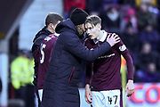Austin McPhee gives instructions to Harry Cochrane during the William Hill Scottish Cup 4th round match between Heart of Midlothian and Hibernian at Tynecastle Stadium, Gorgie, Scotland on 21 January 2018. Photo by Kevin Murray.