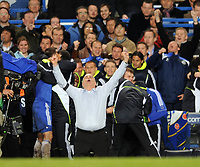 Liverpool/Chelsea Champions League semi final 2nd leg 30.04.08 <br /> Photo: Tim Parker Fotosports International<br /> Avram Grant Chelsea manager celebrates at the end of the game